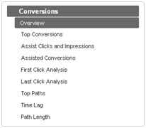 Adwords Search Funnels Left Navigation Panel