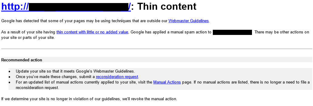 Google penalty for thin content