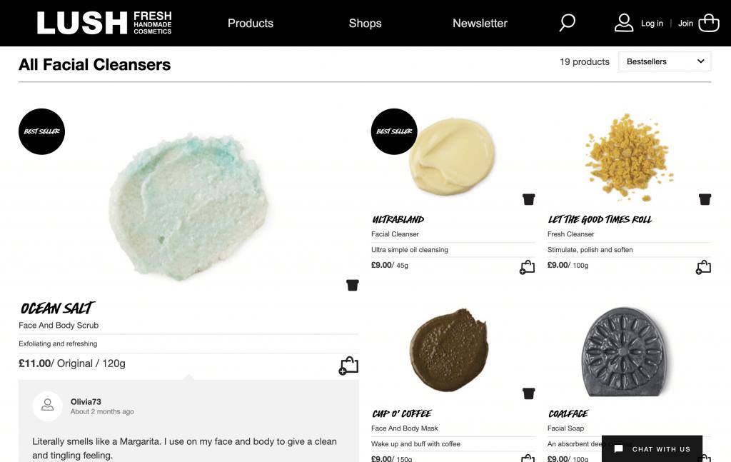 bad example of product segmentation lush