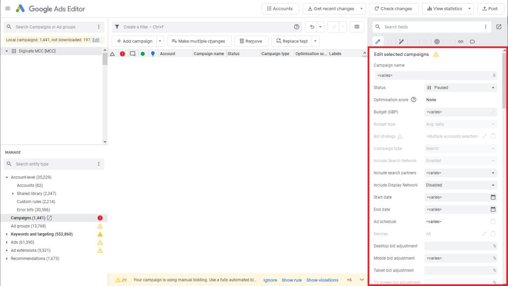 google ads editor step by step