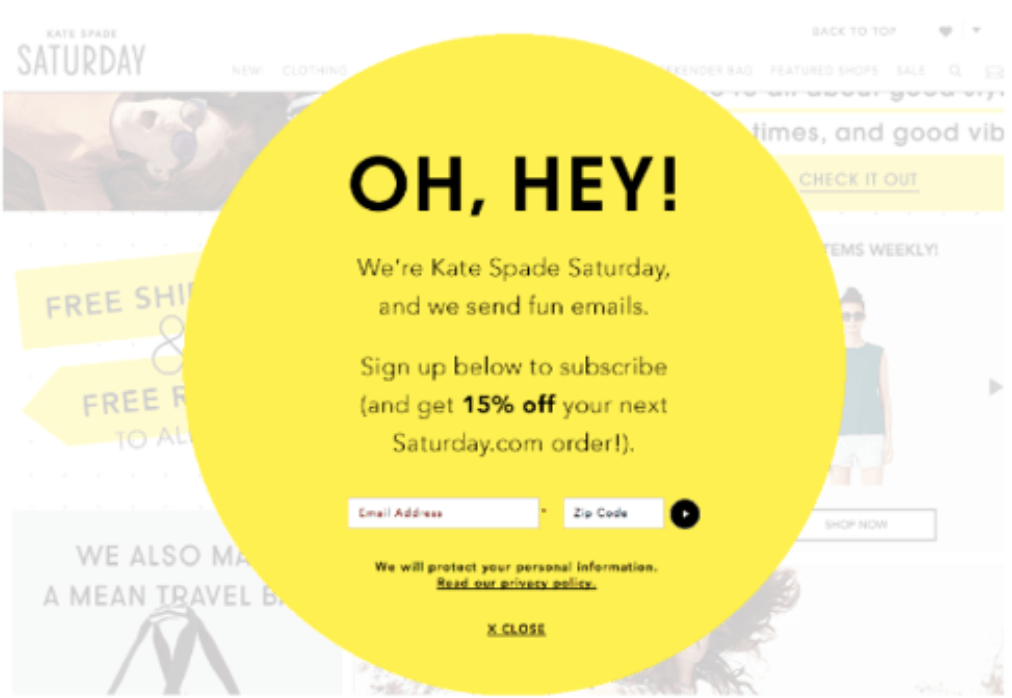 Example of a B2C lead magnet coupon at signup