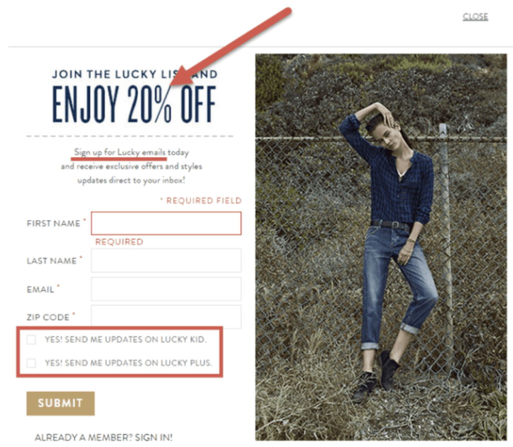 Example of eCommerce lead magnet
