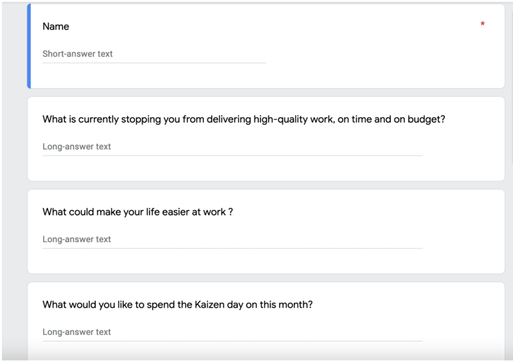 example of Google questionnaire